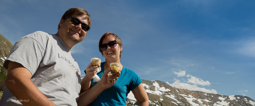 Drive Dive Devour -Kerensa and Brandon in the Rocky Mountains of Colorado with cupcakes