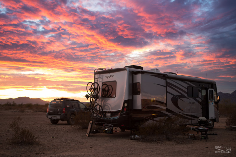 Boondocking at KOFA near Quartzsite, AZ with RV solar at sunset