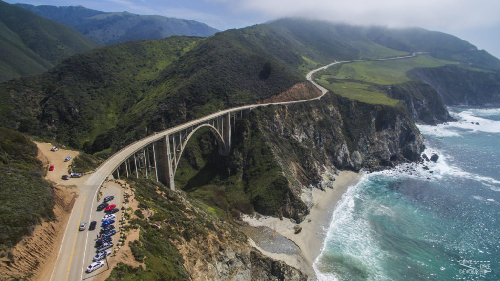 A crowded Bixby Bridge in Central Coast CA