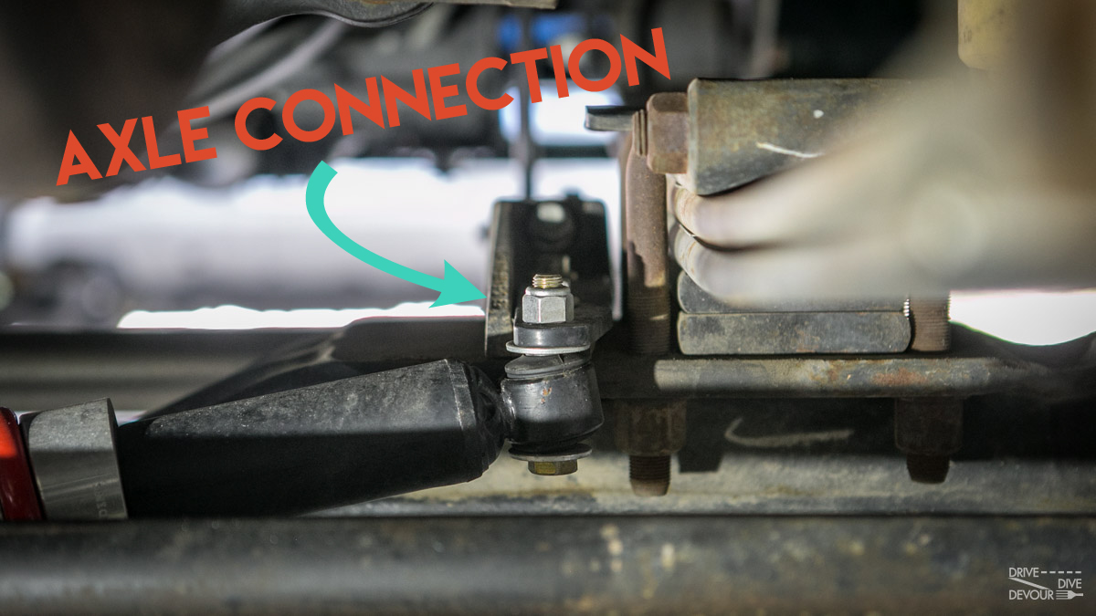 RV Steering Stabilizer Axle Connection