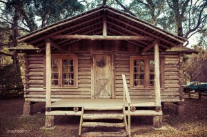 A log home in the city park